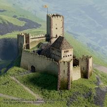 3D-Geländemodell - Die Burg auf dem Freiburger Schlossberg um 1200 - von Hans-Jürgen van Akkeren